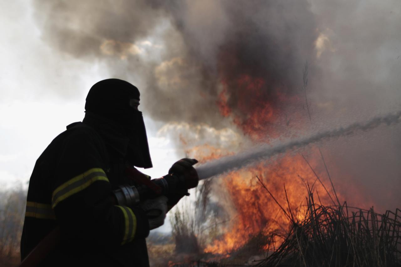 A firefighter attempts to extinguish flames during a forest fire in the environmental conservation area near Jaburu Palace, the official residence of vice-president, in Brasilia September 17, 2013. According to the Fire Department, the fire was caused by low humidity and dry weather. REUTERS / Ueslei Marcelino (BRAZIL - Tags: DISASTER ENVIRONMENT TPX IMAGES OF THE DAY)
