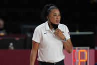 United States' head coach Dawn Michelle Staley watches during women's basketball preliminary round game between Nigeria and United States of America at the 2020 Summer Olympics, Tuesday, July 27, 2021, in Saitama, Japan. (AP Photo/Charlie Neibergall)