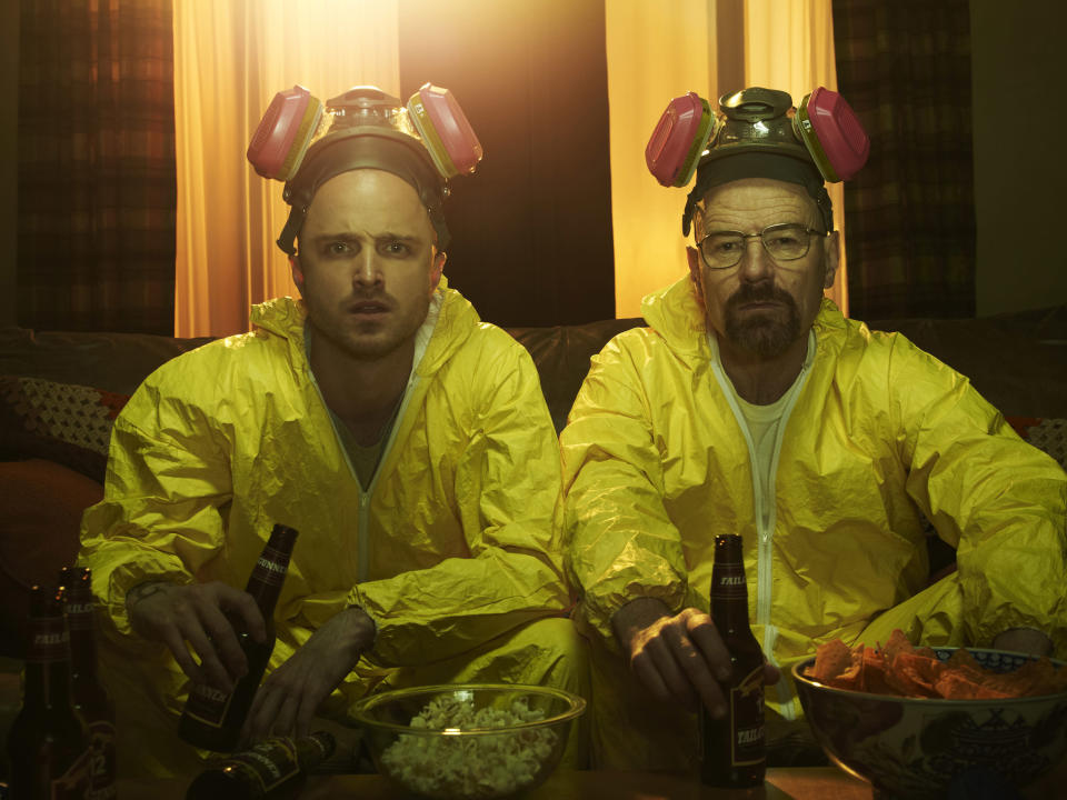 Bryan Cranston and Aaron Paul as Jesse Pinkman and Walter White in AMC's Breaking Bad – (Frank Ockenfels/AMC/Sony Pictures Television)