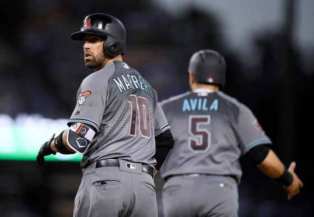 Deven Marrero (left) and Alex Avila of the Diamondbacks react after committing the ultimate baserunning blunder. (AP)