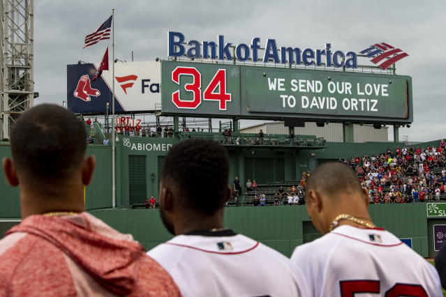 The Red Sox held a moment of reflection for Ortiz on Monday night before their game against the Rangers. (Getty Images)