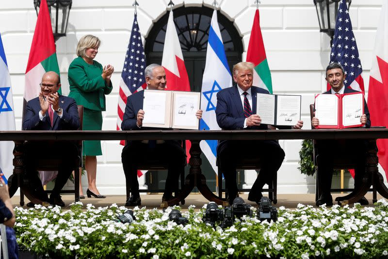 FILE PHOTO: U.S. President Trump hosts leaders for Abraham Accords signing ceremony at the White House in Washington