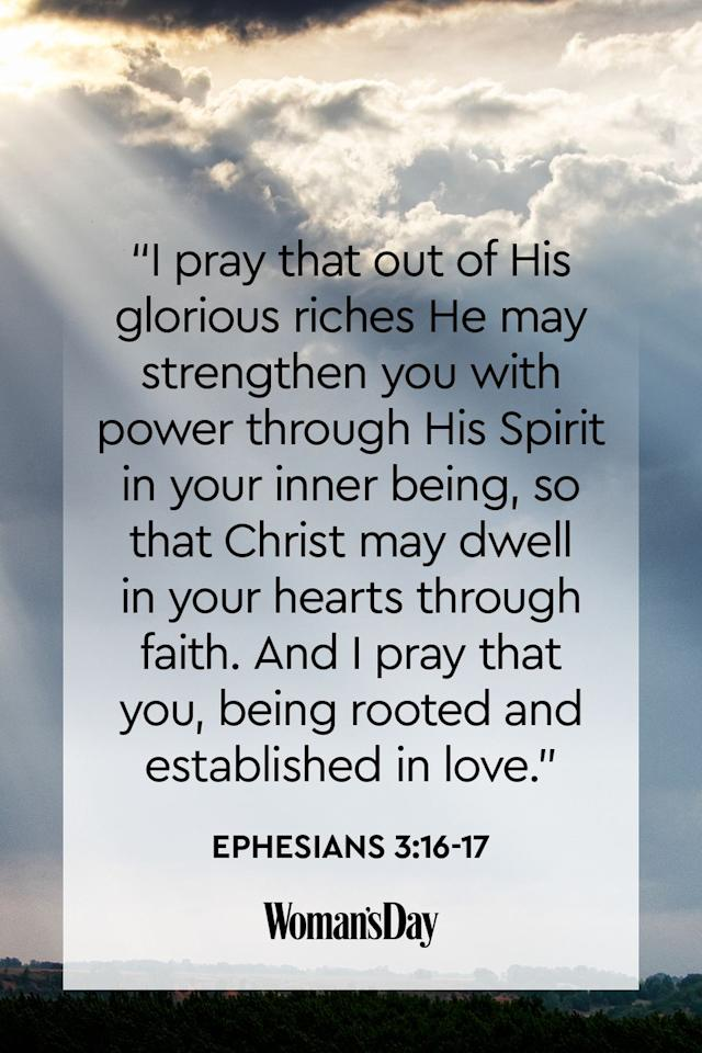 """<p>""""I pray that out of His glorious riches He may strengthen you with power through His Spirit in your inner being, so that Christ may dwell in your hearts through faith. And I pray that you, being rooted and established in love.""""</p><p><strong>The Good News: </strong>Believing and having faith in the Divine Trinity is just as important as believing in God.</p>"""