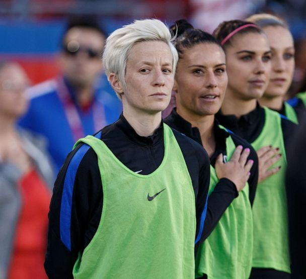 PHOTO:Megan Rapinoe and teammates stand during the national anthem during the International Friendly match between the USA and Russia on April 6, 2017, at Toyota Stadium in Frisco, Texas. (Matthew Visinsky/Icon Sportswire/AP)