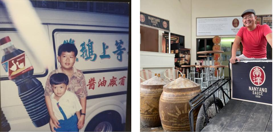 Ken Koh with his younger brother in 1995 (L), and at the present-day Nanyang Sauce factory in Taman Jurong.(PHOTO: Ken Koh and Nicholas Yong/Yahoo News Singapore)