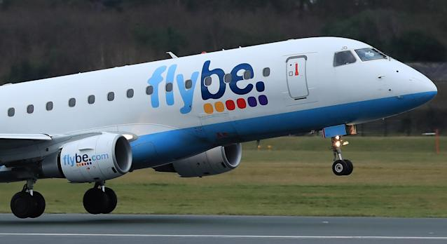A Flybe plane takes off from Manchester Airport. Photo: Reuters/Phil Noble