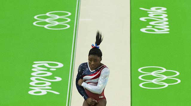 <p>USA's Simone Biles in action on vault during Women's Team All-Around Final at the Rio Olympic Arena in Rio de Janeiro, Brazil. </p>