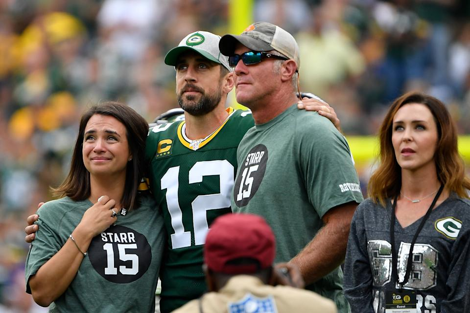 """Brett Favre, who says he """"gets along great"""" with Aaron Rodgers, thinks the Packers burned a bridge by drafting Jordan Love. (Quinn Harris/Getty Images)"""