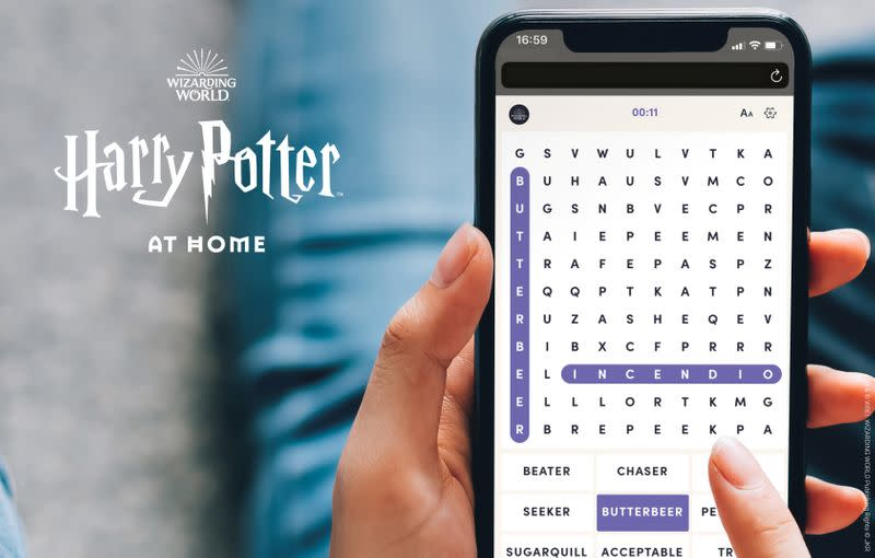 An undated handout photo shows a user fills out a Harry Potter themed word search on mobile as J.K. Rowling has announced initiatives to help children, parents, carers and teachers confined at home during the coronavirus disease (COVID-19) outbreak