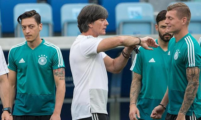 Joachim Löw, centre, has had to galvanise his Germany squad after the 1-0 defeat to Mexico last weekend.