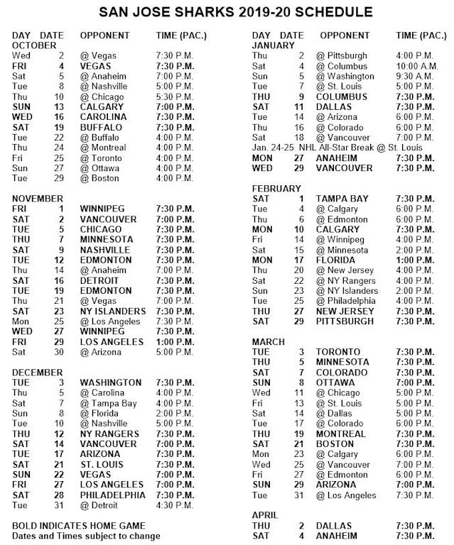 Sharks' 2019-20 season schedule