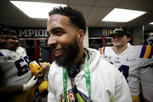 NFL star receiver Odell Beckham Jr. was issued an arrest warrant for allegedly slapping a security guard in the rear Monday (AFP Photo/Chris Graythen)