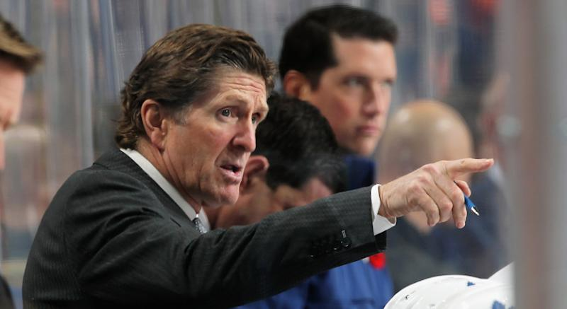 Toronto's Mike Babcock hit a major career milestone with his squad's overtime win over the Vegas Golden Knights on Thursday night. (Photo by Len Redkoles/NHLI via Getty Images)