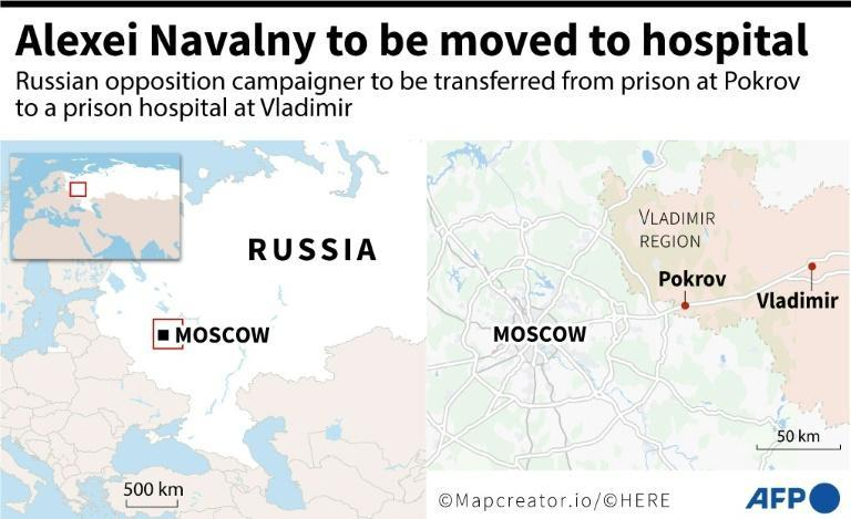 A map locating Vladimir region, where Russian opposition campaigner Alexei Navalny will be transferred from his prison to a hospital