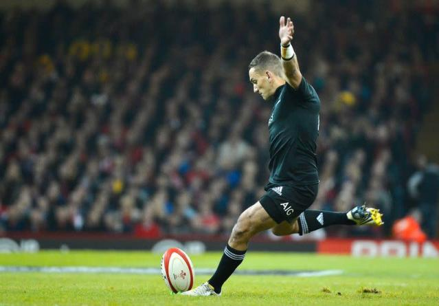 Cruden of New Zealand kicks a penalty during their international rugby union match against Wales in Cardiff