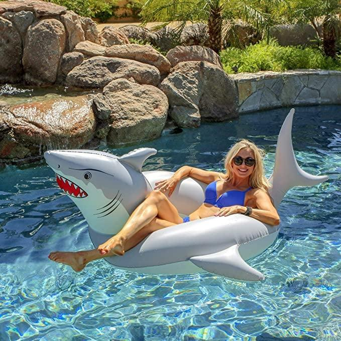 <p>Watch out for this <span>GoFloats 'Great White Bite' Shark Party Tube</span> ($20).</p>