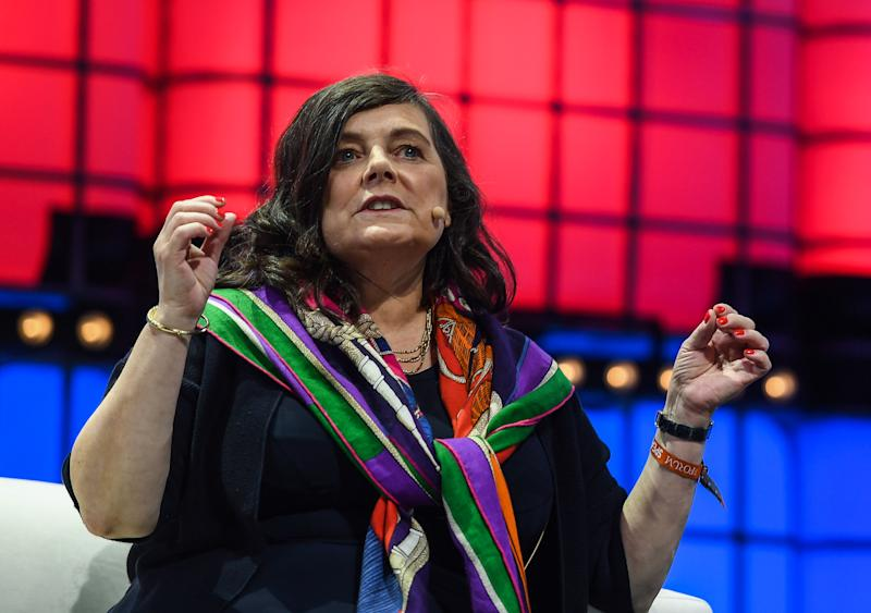 LISBON , PORTUGAL - 7 November 2019; Anne Boden, CEO, Starling Bank, on Centre stage during the final day of Web Summit 2019 at the Altice Arena in Lisbon, Portugal. (Photo By Harry Murphy/Sportsfile for Web Summit via Getty Images)
