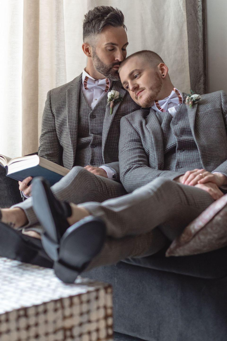 """<p>Nearly 150 close friends and family gathered at The Nylo Hotel in Las Colinas, TX on February 19, 2019 to celebrate Brad and David. """"It was beyond perfect. There wasn't a dry eye at the ceremony or a set of feet that didn't hurt from dancing the night away at the reception,"""" they said.<br></p>"""