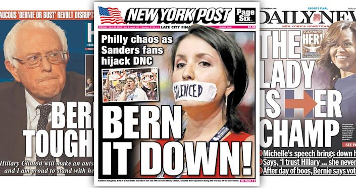 """<p>First Lady Michelle Obama in particular delivered a rousing speech on behalf of presumptive Democratic nominee Hillary Clinton, leading the Daily News to declare on its front page: """"The Lady Is Her Champ."""" (newseum.org)</p>"""