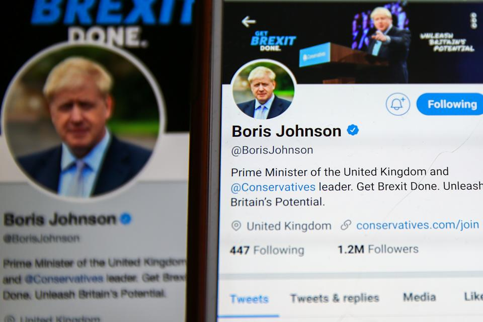 In this photo illustration a Twitter account of Boris Johnson, Prime Minister of the United Kingdom and the leader of the Conservative Party seen on a computer and a mobilephone. As of 8 December 2019, Boris Johnson has 1.27m followers on his Twitter account. Britons go to the polls on 12 December in a General Election. (Photo by Dinendra Haria / SOPA Images/Sipa USA)