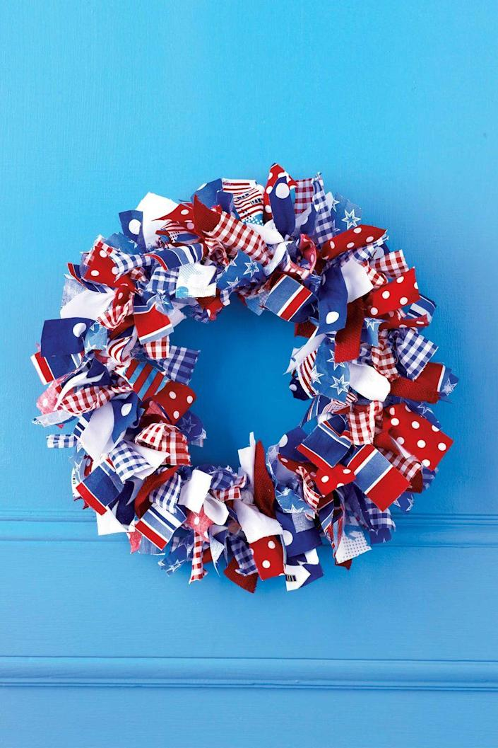 """<p>Armed with a pile of patriotic fabric scraps, you can create the most festive and unique wreath on the block.</p><p><em><a href=""""https://www.womansday.com/home/decorating/g852/summer-wreaths/?slide=2"""" rel=""""nofollow noopener"""" target=""""_blank"""" data-ylk=""""slk:Get the tutorial for Fabric-Wrapped Wreath"""" class=""""link rapid-noclick-resp"""">Get the tutorial for Fabric-Wrapped Wreath</a>.</em></p><p><strong>What You'll Need:</strong> <a href=""""https://www.amazon.com/Grosgrain-Ribbon-Stripes-Valentines-Decorating/dp/B01MTA6KGT/?tag=syn-yahoo-20&ascsubtag=%5Bartid%7C10070.g.2446%5Bsrc%7Cyahoo-us"""" rel=""""nofollow noopener"""" target=""""_blank"""" data-ylk=""""slk:Red and white ribbon"""" class=""""link rapid-noclick-resp"""">Red and white ribbon</a> ($13 per roll, Amazon)<br></p>"""