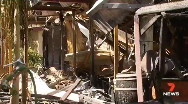 The two storey home was completely burnt down. Source: 7 News