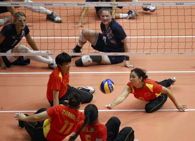 2016 Rio Paralympics - Sitting Volleyball - Final - Women's Gold Medal Match - Riocentro Pavilion 6 - Rio de Janeiro, Brazil, 17/09/2016. Zhang Xufeii (CHN) of China in action. REUTERS/Pilar Olivares FOR EDITORIAL USE ONLY. NOT FOR SALE FOR MARKETING OR ADVERTISING CAMPAIGNS.