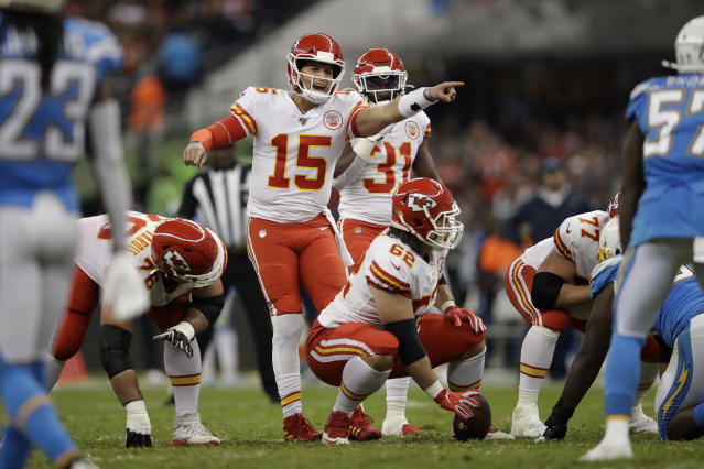 Kansas City Chiefs quarterback Patrick Mahomes (15) gestures before starting a play during the first half of an NFL football game against the Los Angeles Chargers, Monday, Nov. 18, 2019, in Mexico City. (AP Photo/Marcio Jose Sanchez)