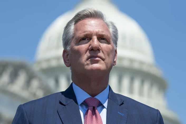 UNITED STATES - MAY 20: House Minority Leader Kevin McCarthy, R-Calif., attends a news conference to highlight Cuban Independence Day outside the Capitol on Thursday, May 20, 2021. (Photo By Tom Williams/CQ-Roll Call, Inc via Getty Images)