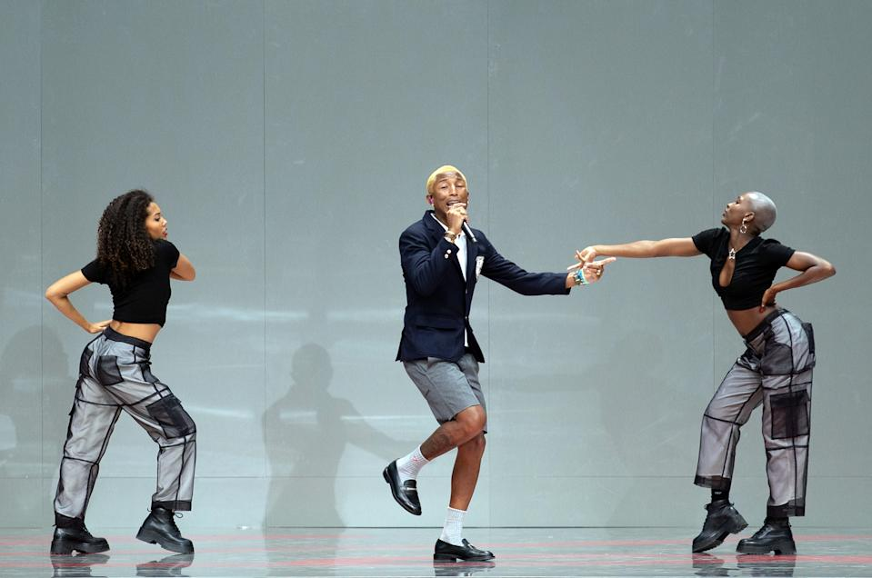 """PARIS, FRANCE - JUNE 20: Pharrell Williams performs during """"Karl for Ever"""" Tribute to Karl Lagerfeld  at Grand Palais on June 20, 2019 in Paris, France. (Photo by Bertrand Rindoff Petroff/Getty Images)"""