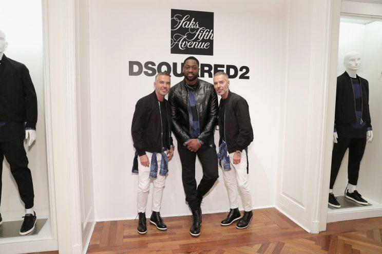 Dan Caten, Dwyane Wade, and Dean Caten at the DSquared2 x Dwyane Wade capsule collection launch at Saks Fifth Avenue.