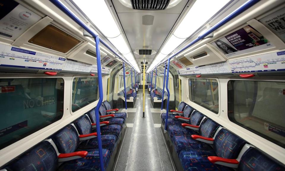 An empty tube train on London's Piccadilly line'