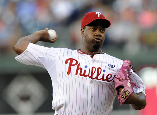 Philadelphia Phillies starting pitcher Jerome Williams throws a pitch in the first inning of an interleague baseball game against the Seattle Mariners on Monday, Aug. 18, 2014, in Philadelphia. (AP Photo/Michael Perez)