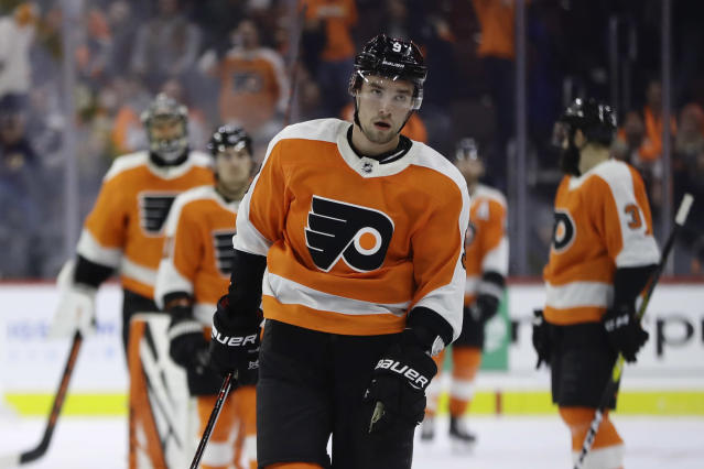 Philadelphia Flyers' Ivan Provorov skates off the ice after Columbus Blue Jackets' Seth Jones scored in overtime of an NHL hockey game Thursday, Dec. 6, 2018, in Philadelphia. Columbus won 4-3. (AP Photo/Matt Slocum)