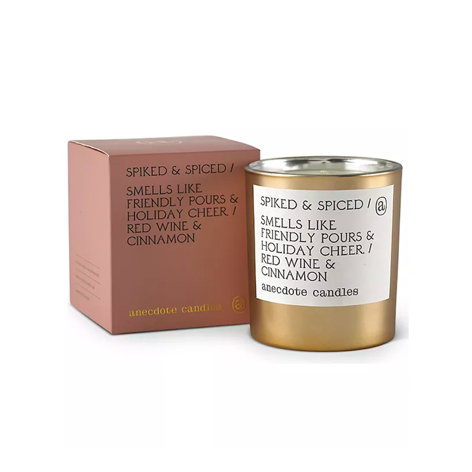 """$34, Macy's. <a href=""""https://www.macys.com/shop/product/anecdote-candles-spiked-spiced-red-wine-cinnamon-boxed-gold-tumbler-candle-9-oz.?ID=10775234"""" rel=""""nofollow noopener"""" target=""""_blank"""" data-ylk=""""slk:Get it now!"""" class=""""link rapid-noclick-resp"""">Get it now!</a>"""
