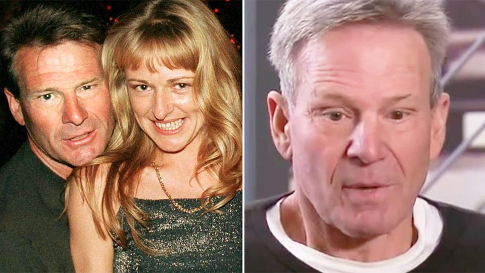 Sam Newman is seen on the right discussing the death of his wife Amanda Brown.