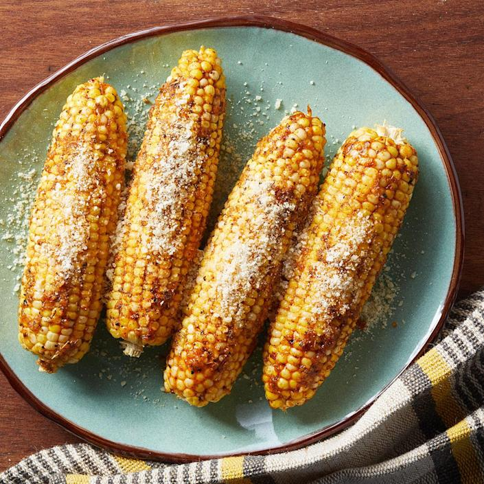 <p>Savory Parmesan cheese and sweet corn team up in this easy corn on the cob recipe that's good for every season. Wrapping the corn in foil keeps in the flavors of smoked paprika, garlic powder and thyme. Pair with roast chicken, steak or pork or serve as part of a vegetarian meal.</p>
