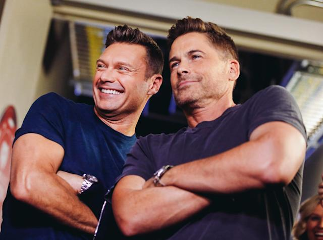 <p>LAS VEGAS, NV – SEPTEMBER 22: Ryan Seacrest (L) and Rob Lowe attend the 2017 iHeartRadio Music Festival at T-Mobile Arena on September 22, 2017 in Las Vegas, Nevada. (Photo: Getty Images for iHeartRadio) </p>