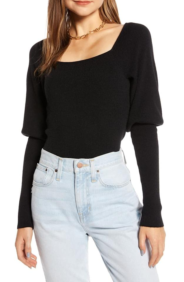 """<p><a href=""""https://www.popsugar.com/buy/Something-Navy-Square-Neck-Sweater-536192?p_name=Something%20Navy%20Square-Neck%20Sweater&retailer=shop.nordstrom.com&pid=536192&price=47&evar1=fab%3Auk&evar9=47056943&evar98=https%3A%2F%2Fwww.popsugar.com%2Ffashion%2Fphoto-gallery%2F47056943%2Fimage%2F47057074%2FSomething-Navy-Square-Neck-Sweater&list1=shopping%2Cnordstrom%2Cproducts%20under%20%2450%2Cwinter%20fashion%2Csale%20shopping&prop13=api&pdata=1"""" rel=""""nofollow"""" data-shoppable-link=""""1"""" target=""""_blank"""" class=""""ga-track"""" data-ga-category=""""Related"""" data-ga-label=""""https://shop.nordstrom.com/s/something-navy-square-neck-sweater-nordstrom-exclusive/5544962/full?origin=category-personalizedsort&amp;breadcrumb=Home%2FSale%2FWomen&amp;color=black"""" data-ga-action=""""In-Line Links"""">Something Navy Square-Neck Sweater </a> ($47, originally $79)</p>"""