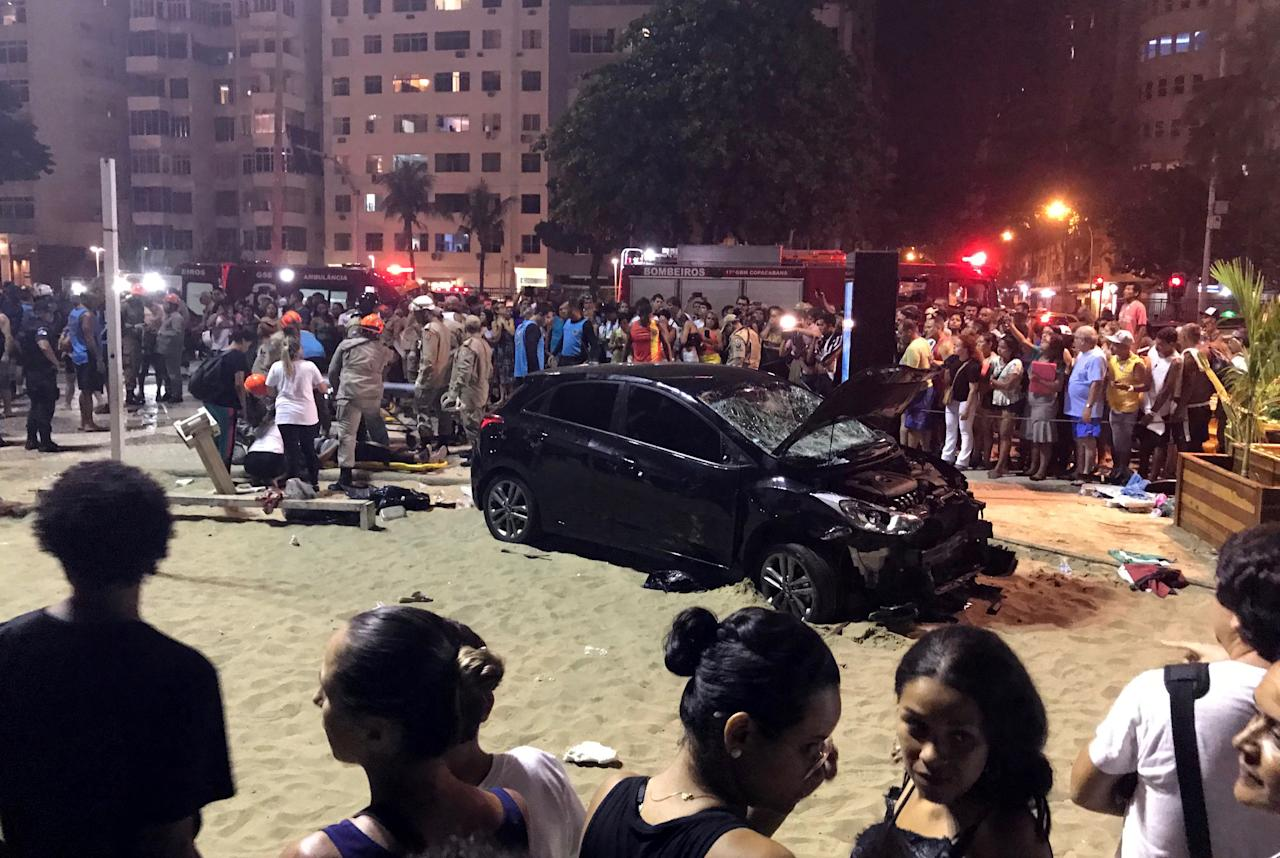 <p>A vehicle that ran over some people at Copacabana beach is seen in Rio de Janeiro, Brazil, Jan. 18, 2018. (Photo: Sebastian Rocandio/Reuters) </p>