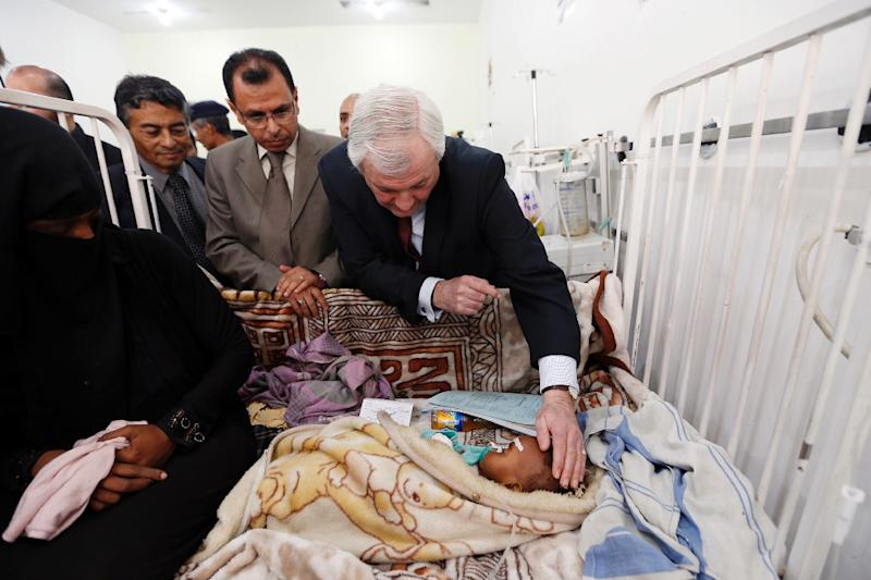 """The people of Yemen are being subjected to deprivation, disease and death as the world watches,"" said UN humanitarian aid chief Stephen O'Brien, pictured here during an official visit to Sanaa, on March 2, 2017 (AFP Photo/MOHAMMED HUWAIS)"