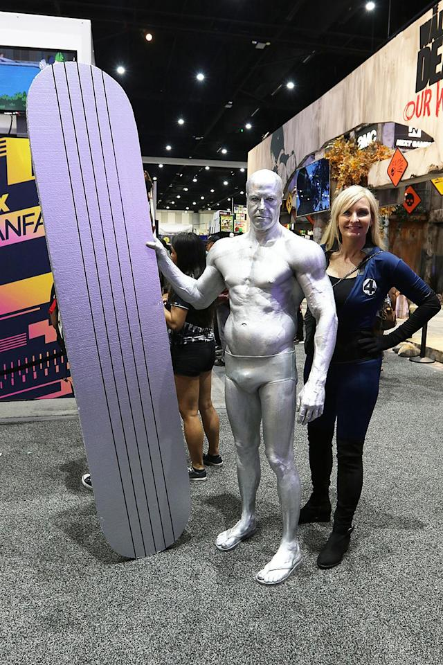 <p>Cosplayers dressed as the Silver Surfer and the Invisible Woman at Comic-Con International on July 20 in San Diego. (Photo: Angela Kim/Yahoo Entertainment) </p>