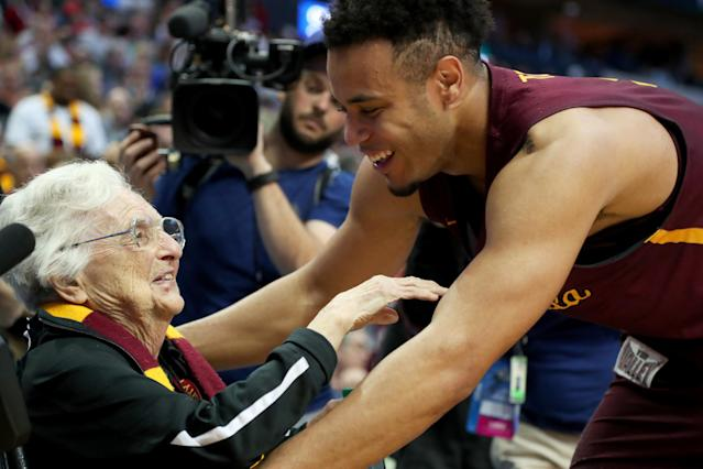 Sister Jean Dolores-Schmidt, the 98-year-old nun and team chaplain, has become the figurehead for this year's Loyola Chicago team. (AP)