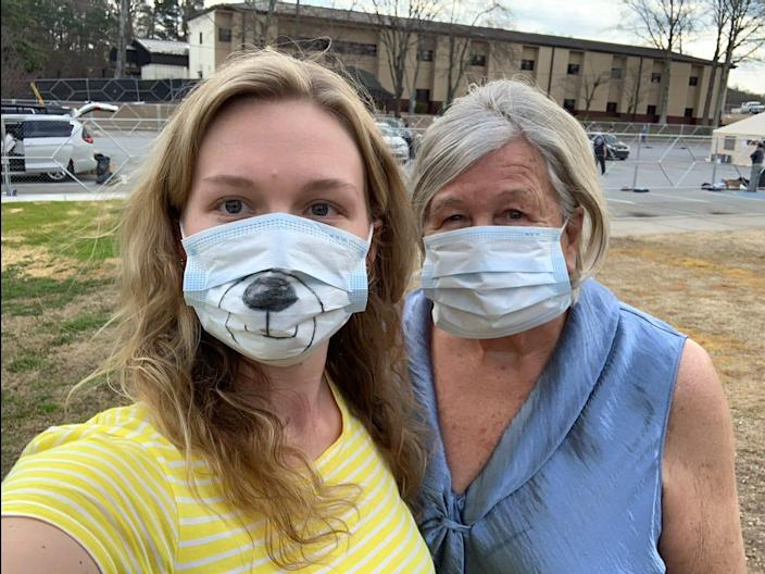 Michelle Saunders of Gurnee, Illinois and her grandmother, Hildegard Baxpehler, 83, of Glenview, Illinois, are under quarantine at Dobbins Air Reserve Base in Georgia after being evacuated from the Grand Princess cruise ship.