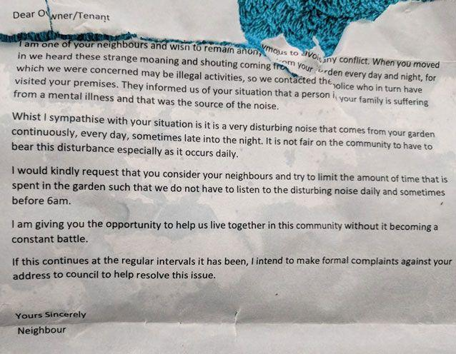 The mum said she received this letter complaining about her son. Source: Facebook