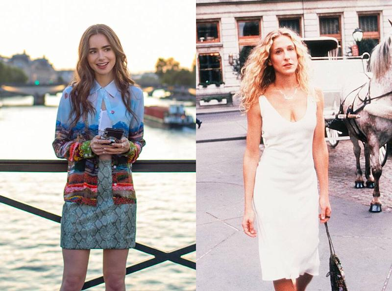 Lily Collins, Emily in Paris, Sarah Jessica Parker, Carrie Bradshaw, Sex and the City