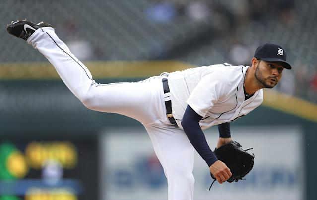 Detroit Tigers pitcher Anibal Sanchez throws against the Baltimore Orioles in the first inning of a baseball game in Detroit Friday, April 4, 2014. (AP Photo/Paul Sancya)