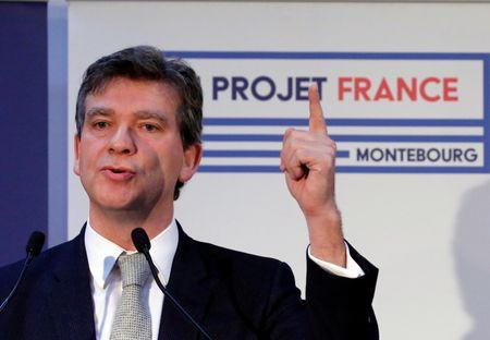 French Socialist Party primary election candidate Arnaud Montebourg announces his program in Paris