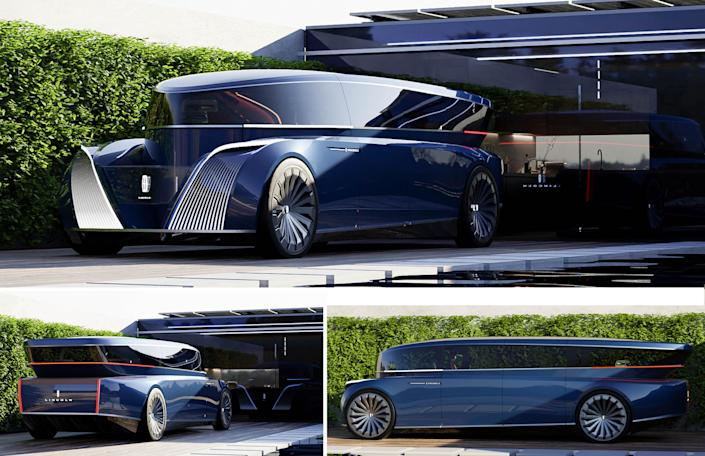 This futuristic car is a six-passenger luxury cruiser that more closely resembles a well-appointed living room than the vehicles of today.