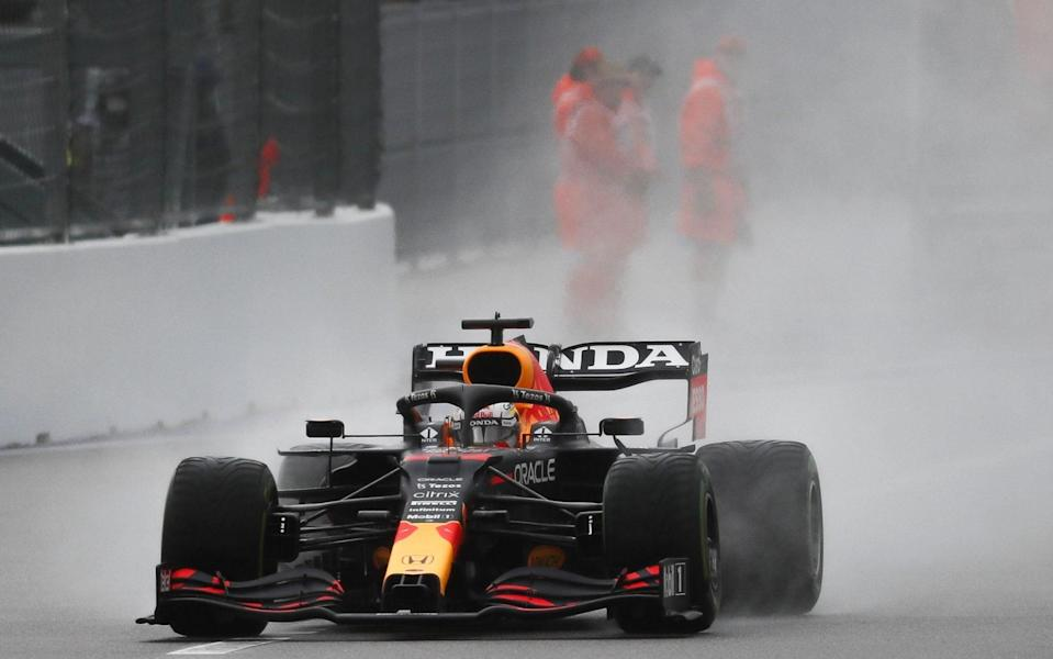 Mandatory Credit: Photo by Yuri Kochetkov/EPA-EFE/Shutterstock (12465405r) Dutch Formula One driver Max Verstappen of Red Bull Racing in action during the qualifying session of the 2021 Formula One Grand Prix of Russia at the Sochi Autodrom race track in Sochi, Russia, 25 September 2021. The Formula One Grand Prix of Russia will take place on 26 September 2021. Formula One Grand Prix of Russia - Yuri Kochetkov/EPA-EFE/Shutterstock